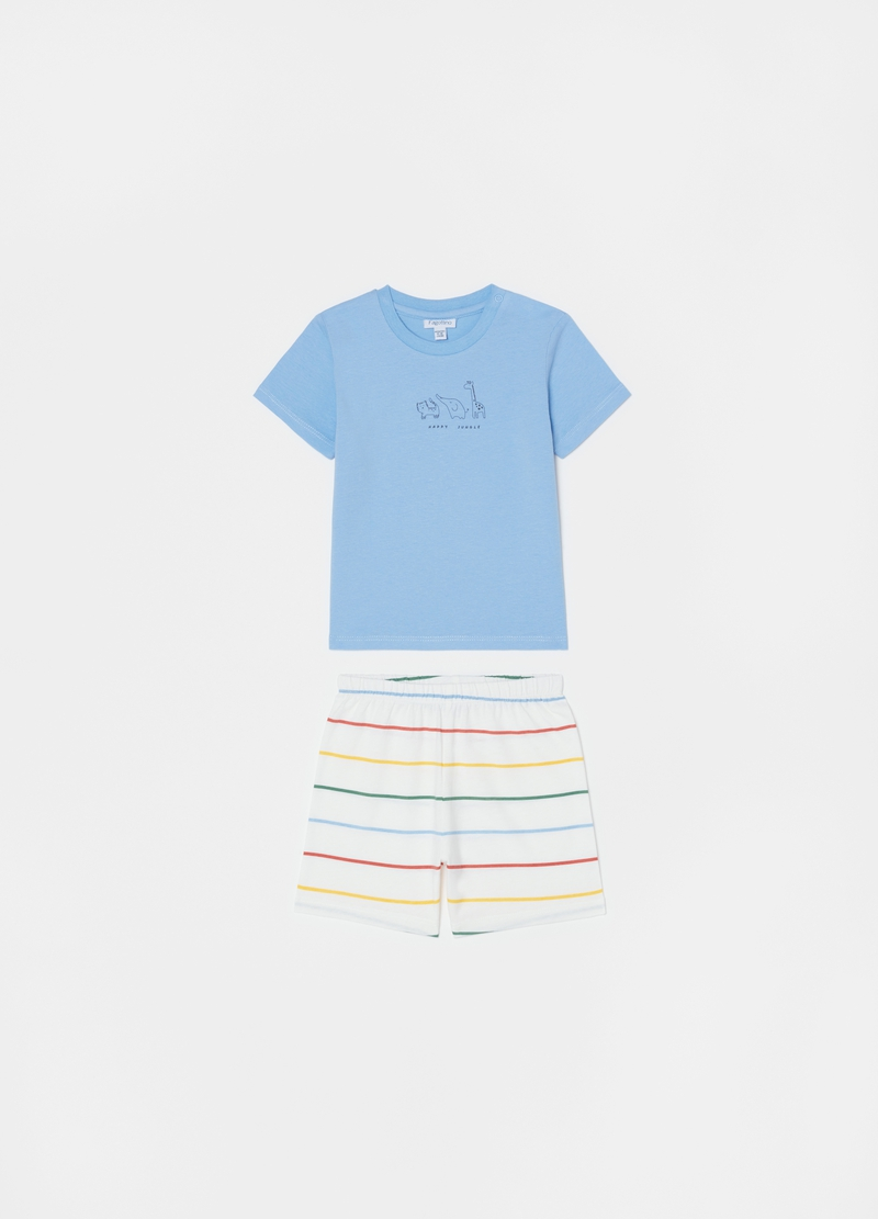 Short cotton pyjamas with stripes and animals print image number null