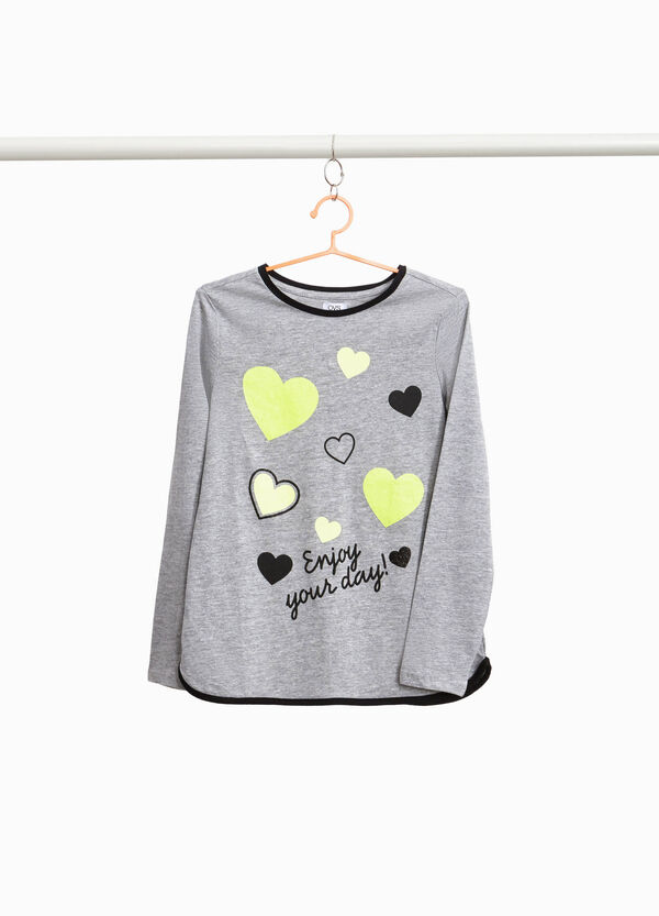 100% cotton T-shirt with hearts print