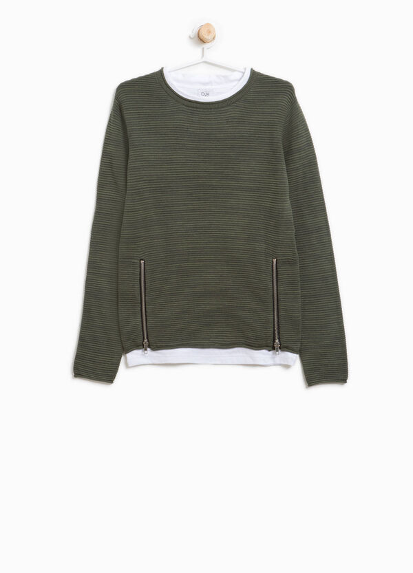 Cotton striped pullover with zip | OVS