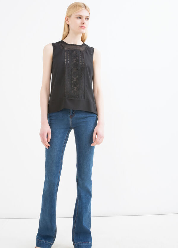 Sleeveless blouse with openwork inserts | OVS