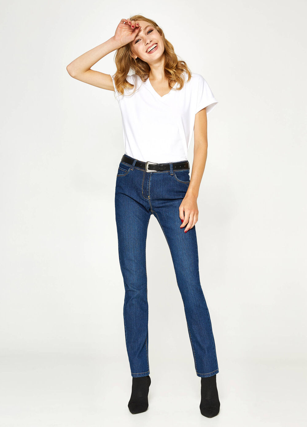 Jeans regular fit stretch tinta unita