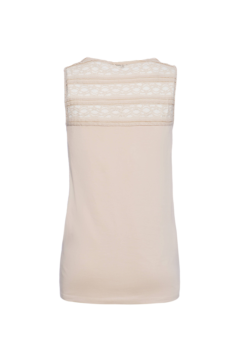 Smart Basic cotton top with lace image number null