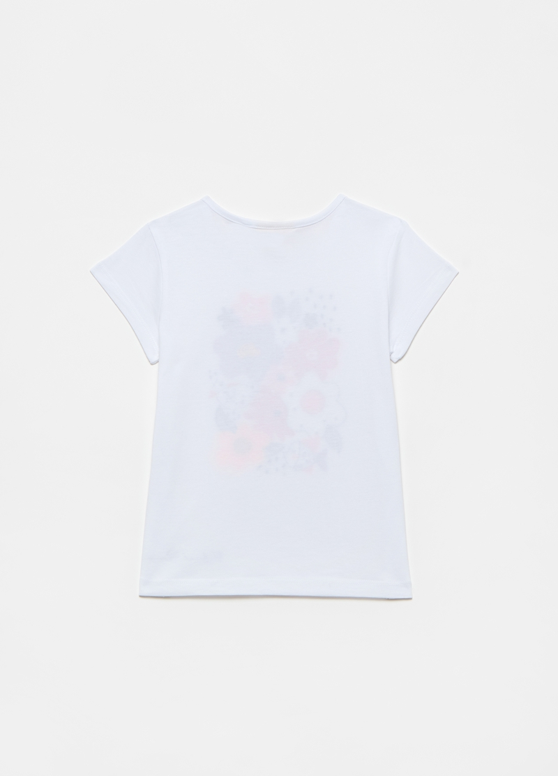 T-shirt in cotone con stampa e strass image number null