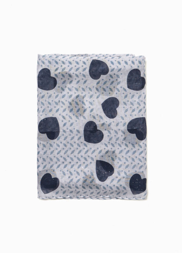Heart and geometric patterned scarf