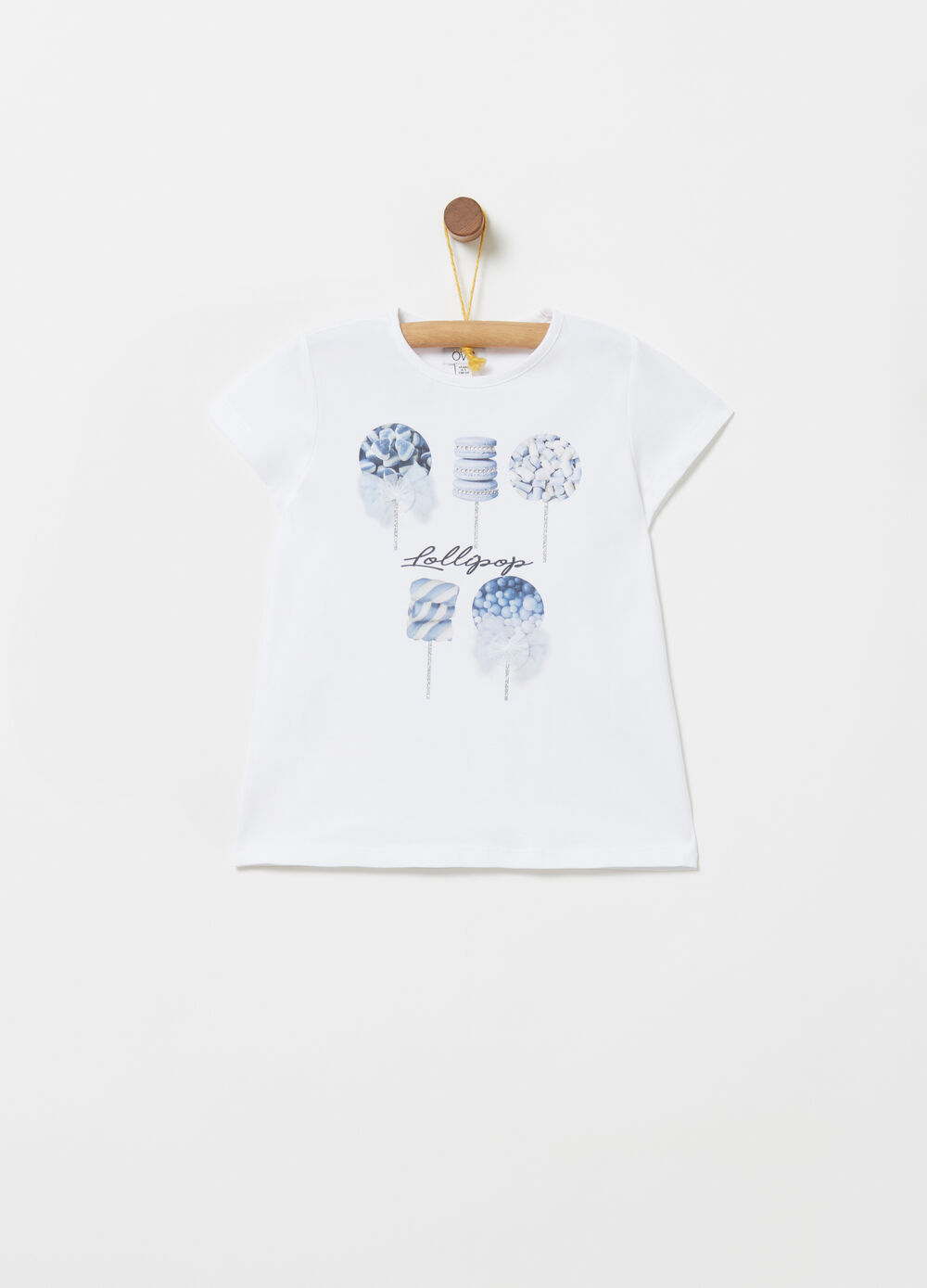 T-shirt with glitter Lollipop print and diamantés