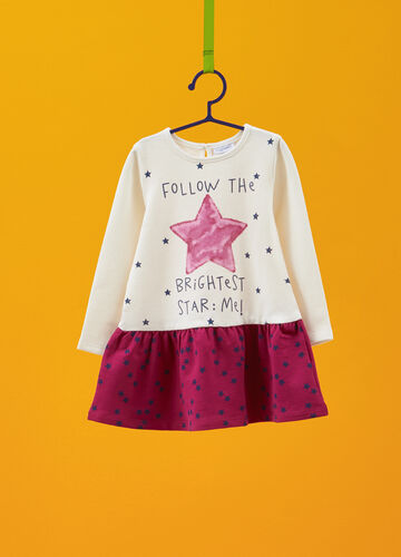 Stretch dress with glitter print and stars