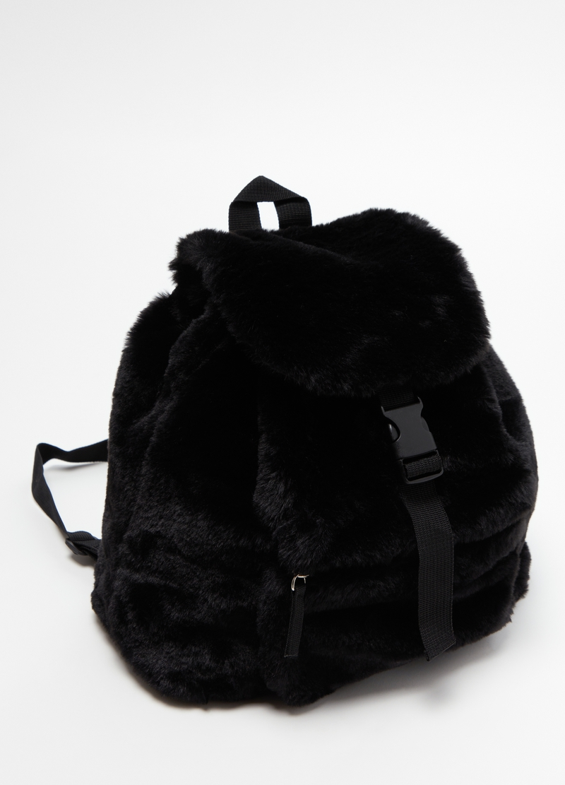 Faux fur backpack with snap buckle image number null