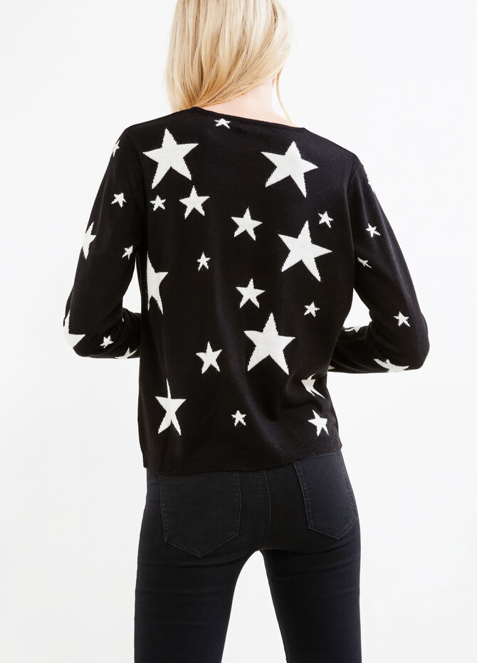 Knitted pullover with star pattern