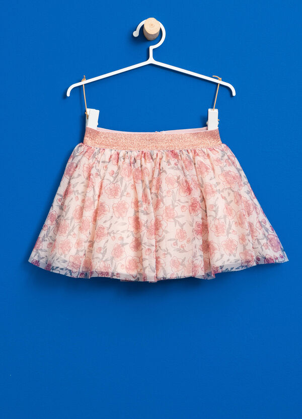 Floral tulle skirt with glitter waist | OVS