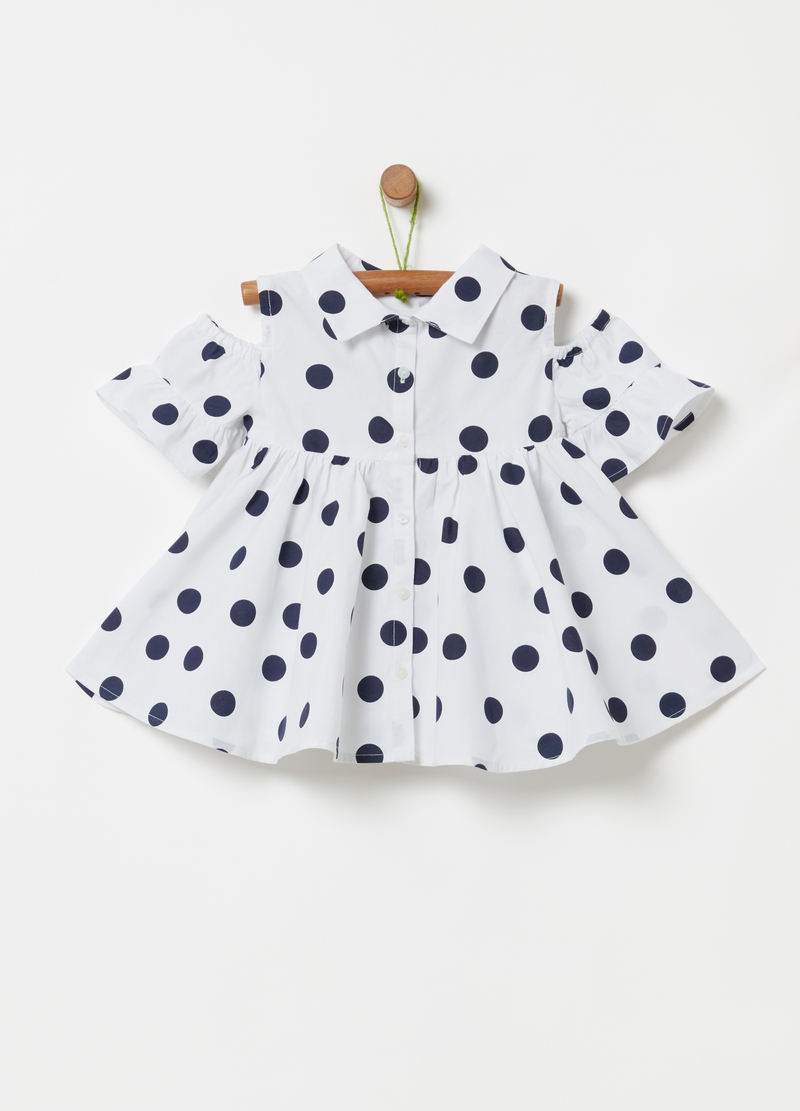 Blouse with all-over polka dots and drop shoulders image number null