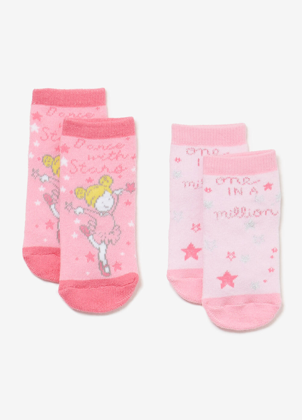 Two-pair pack short slipper socks with print