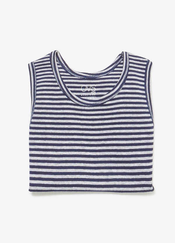 Striped cotton and viscose under vest