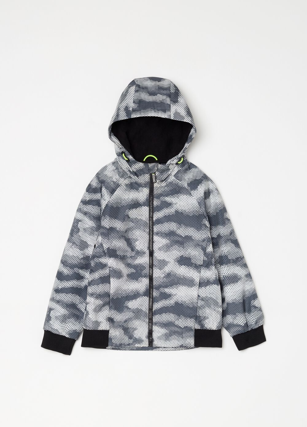 Neoprene bomber jacket with camouflage pattern