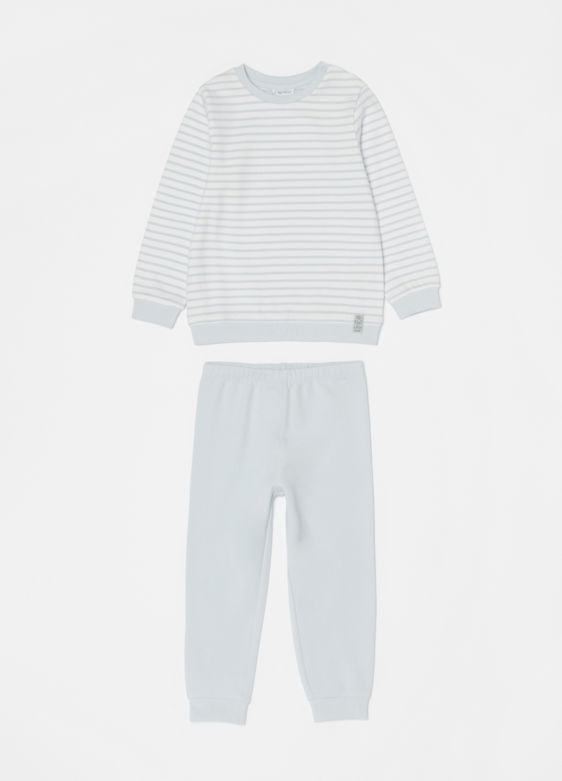 Long 100% cotton pyjamas with stripes image number null