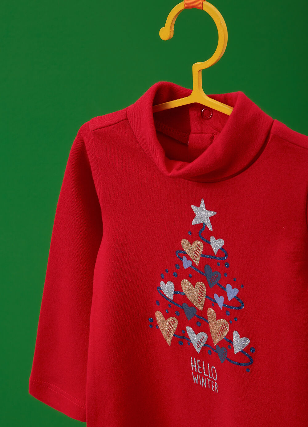 Turtleneck jumper in 100% cotton with glitter heart print