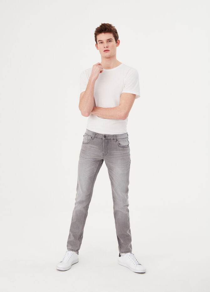 Vintage-effect skinny-fit stretch jeans