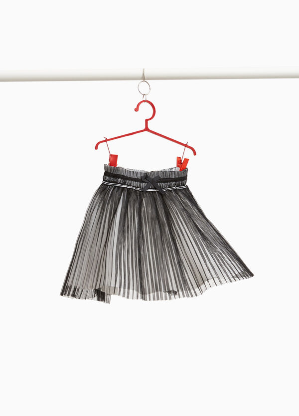 Pleated tulle skirt with bow