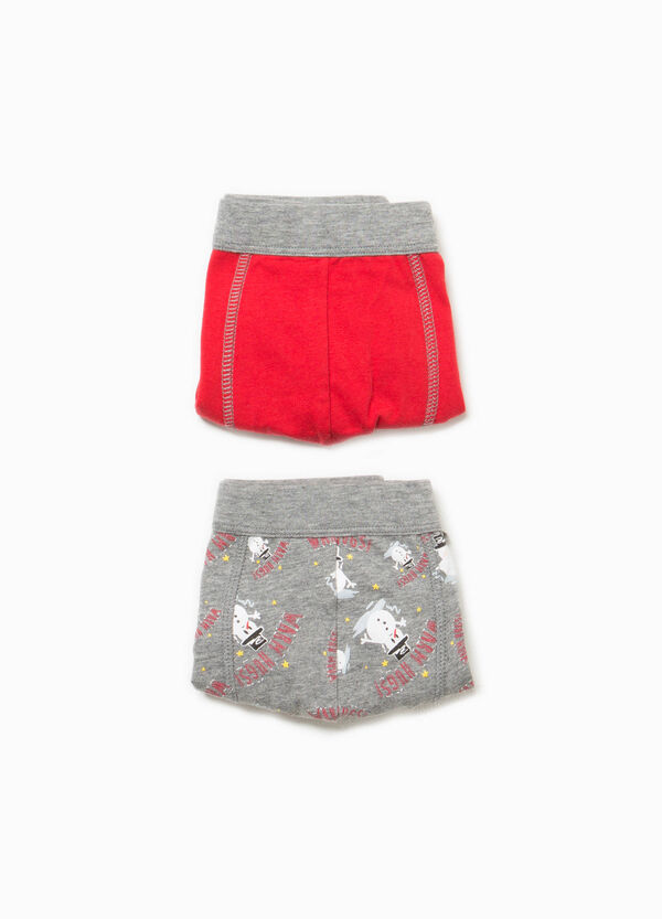 Two-pack solid colour and Christmas patterned boxer shorts