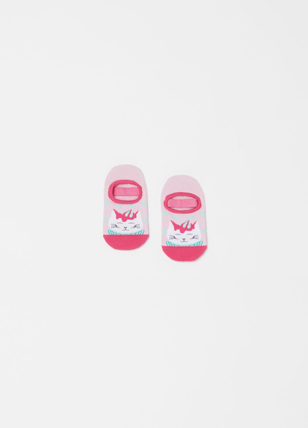 Non-slip shoes with kitten embroidery