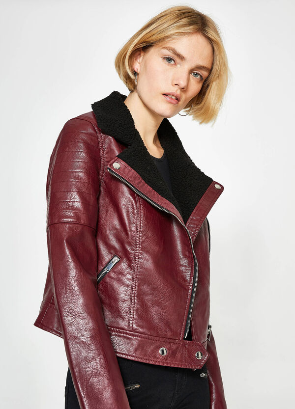 Leather-look crop jacket with lapels