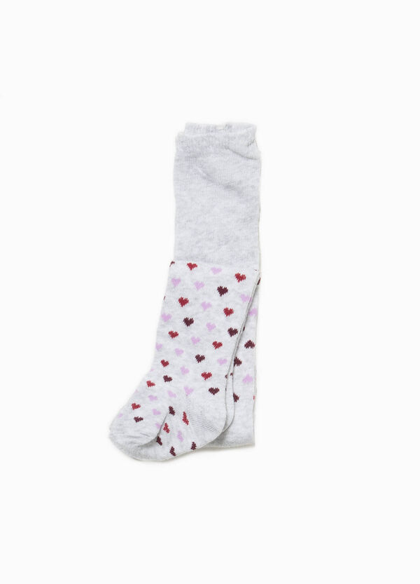 Cotton jacquard tights with hearts | OVS