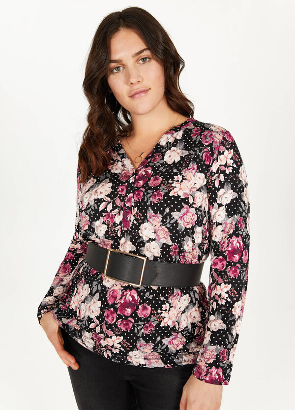 Curvy floral and polka dot patterned blouse
