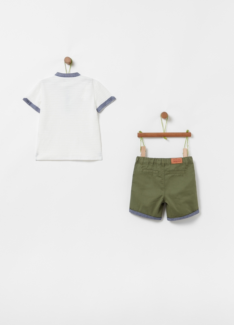 T-shirt and Bermuda shorts set in 100% organic cotton image number null