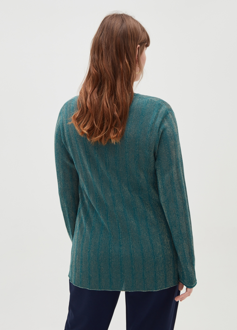 Curvy cardigan with lurex and button image number null