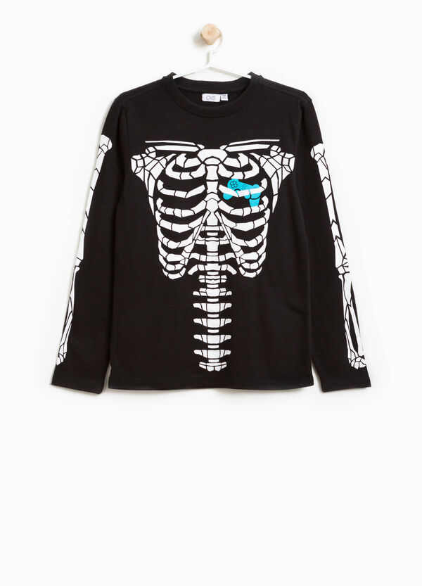 100% cotton T-shirt with skeleton print
