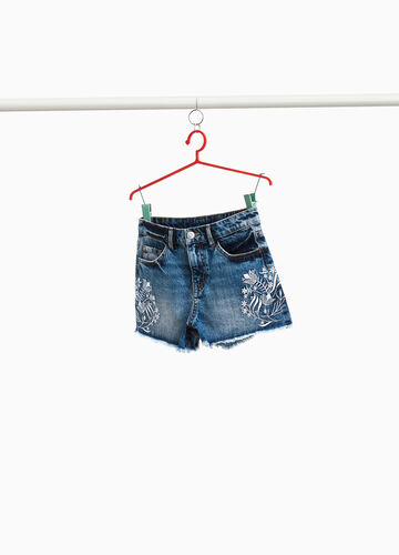 Denim shorts with floral embroidery