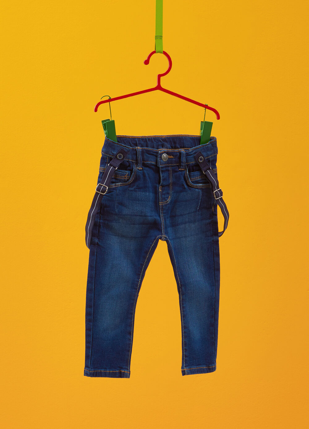 Regular-fit stretch jeans with braces