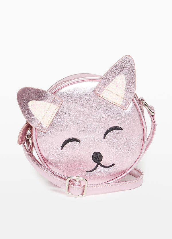 Shiny kitten shoulder bag