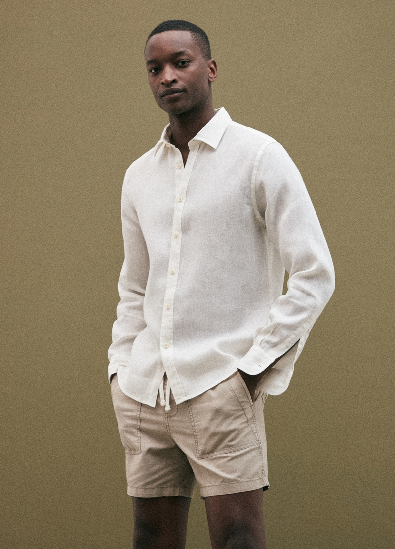 PIOMBO linen shirt with cutaway collar image number null