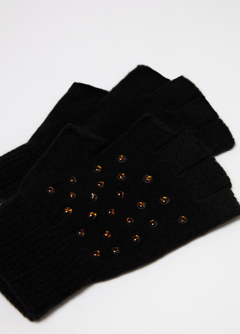 Fingerless gloves with small animal print studs image number null
