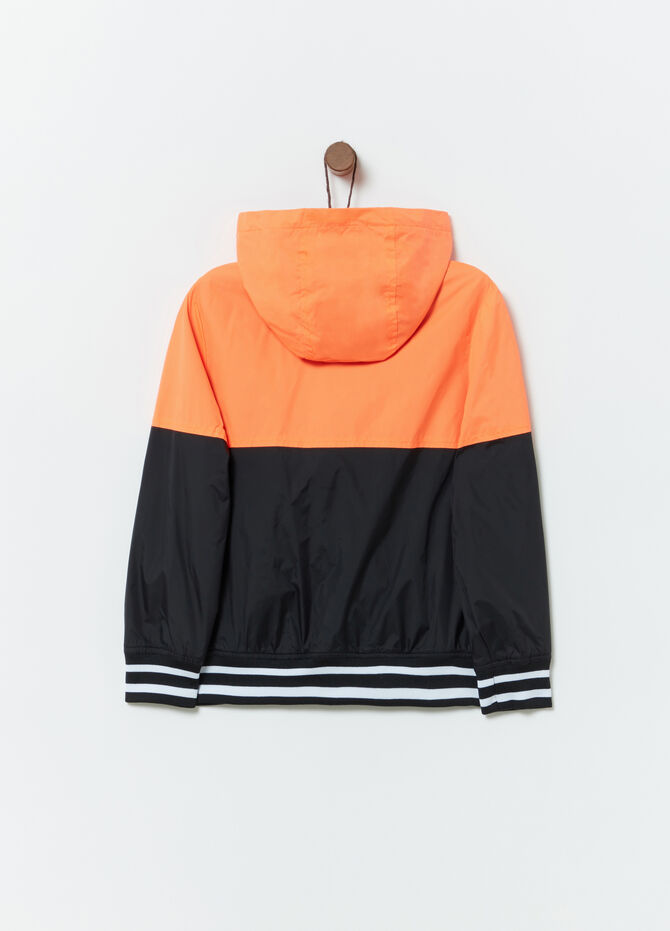 Windproof colour block jacket with ribbing