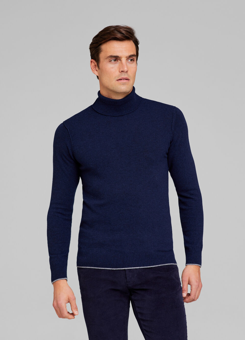 Tencel and wool blend pullover with high neck
