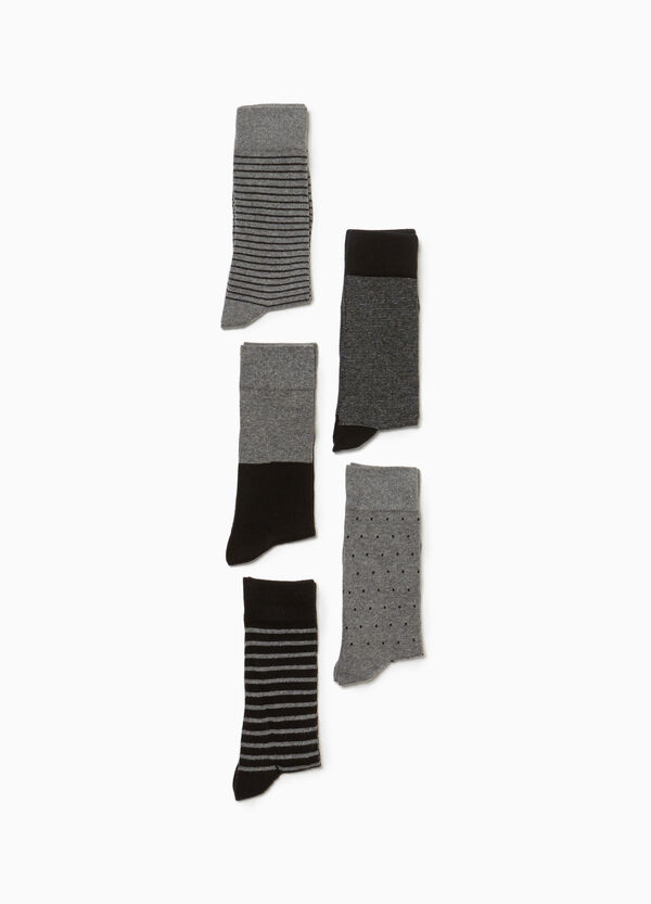 Five-pair pack cotton blend socks