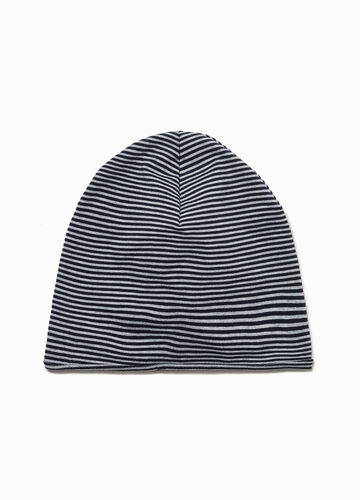 Striped cotton beanie cap