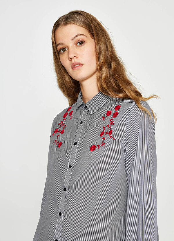 Striped viscose shirt with embroidery | OVS