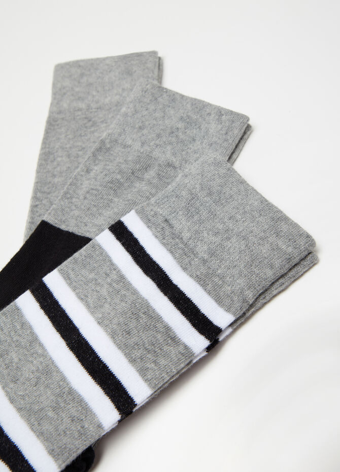3-pack warm socks in cotton jacquard