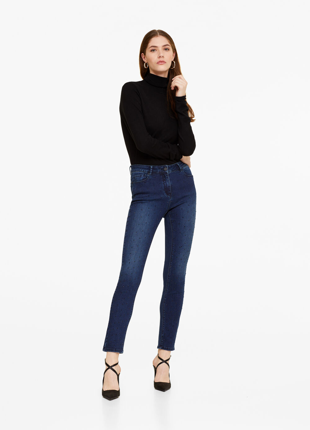 Stretch jeans with studs