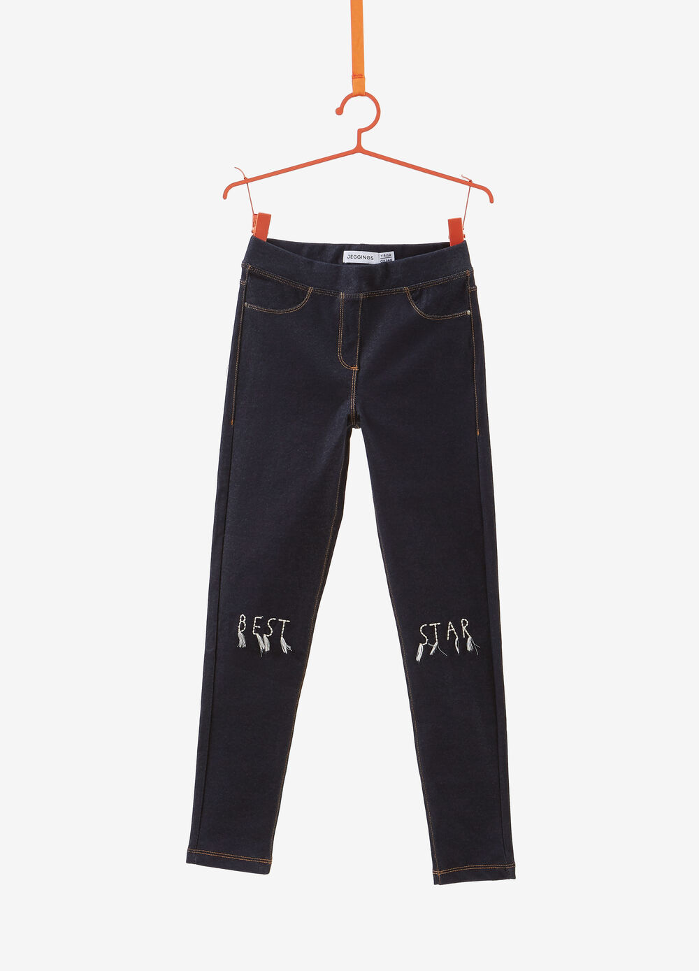Jeggings with embroidered lettering