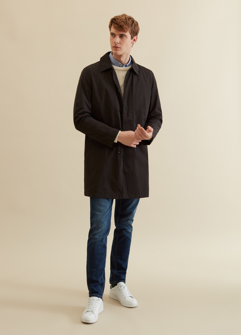 PIOMBO solid colour trench coat with pockets image number null