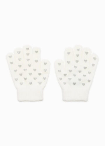 Gloves with glitter heart pattern
