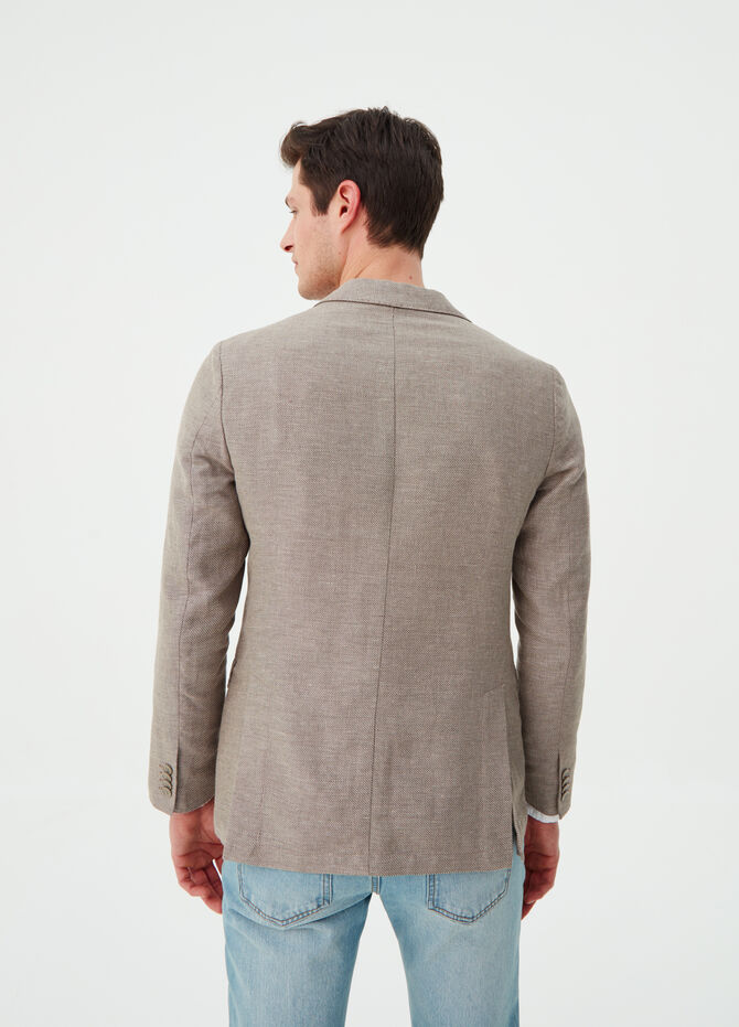 Blazer with lapels in linen and cotton