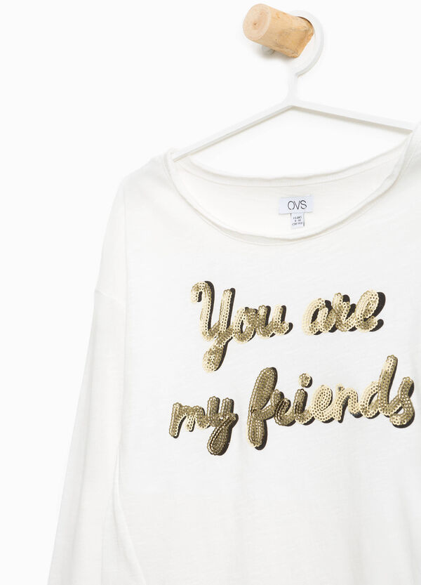 100% cotton T-shirt with lettering sequins