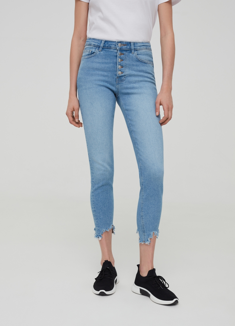 Super skinny-fit jeans with buttons image number null