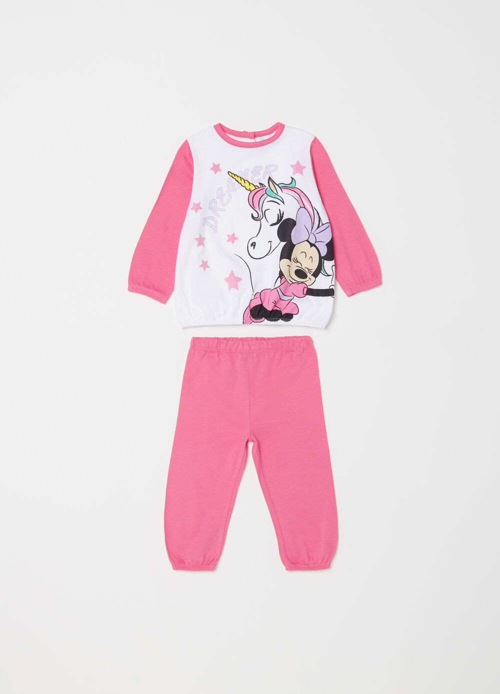Full-length pyjamas with Minnie Mouse and unicorn print