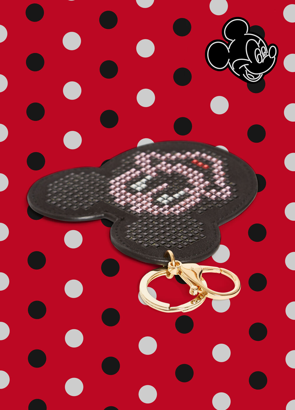 Mickey Mouse keyring with studs