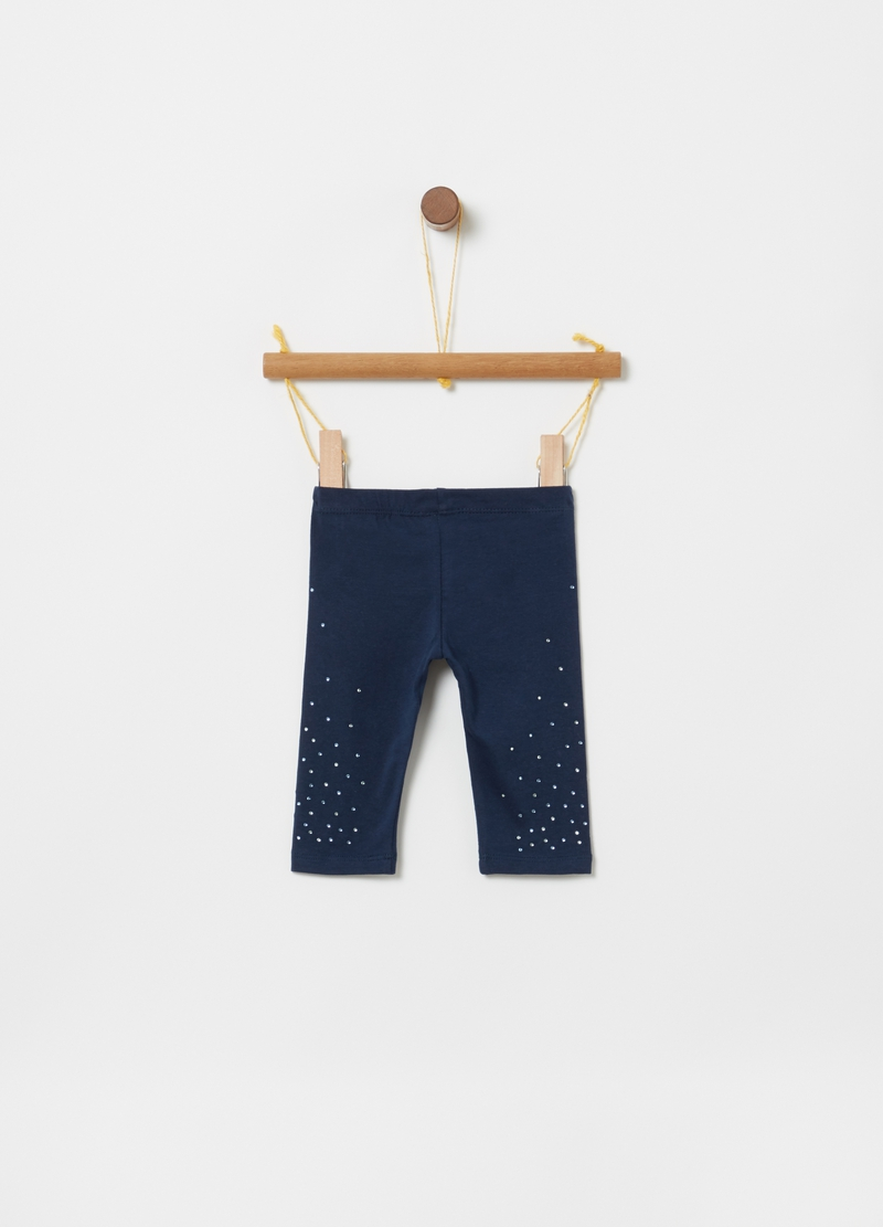 Leggings in jersey bio con strass image number null